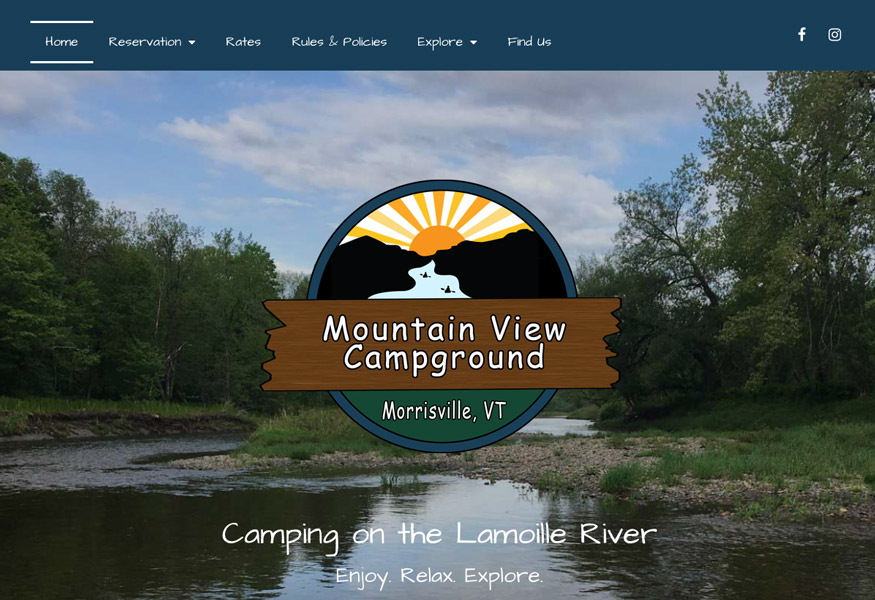 Campground website home page design