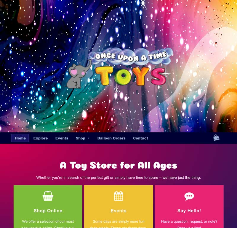 Toy Website home page design