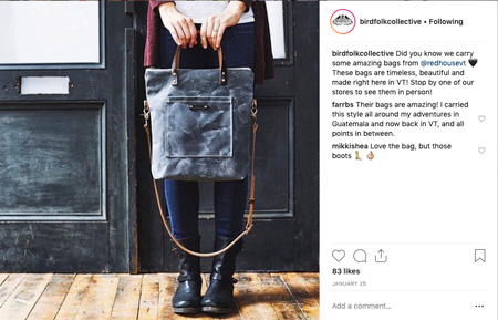 Instagram post by Birdfolk Collective. Features a woman from the waist down holding a gray bag.
