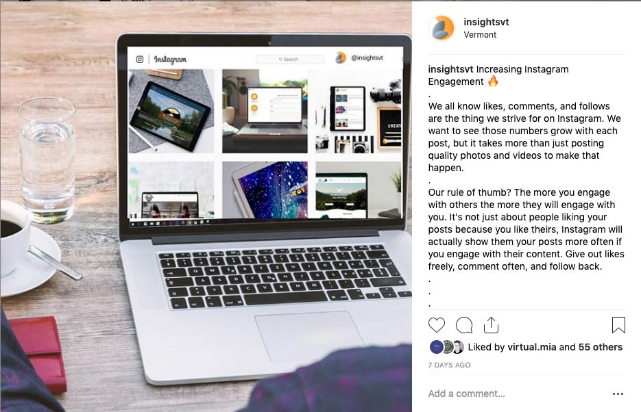 Instagram post by Insightsvt featuring a laptop with an instagram feed.