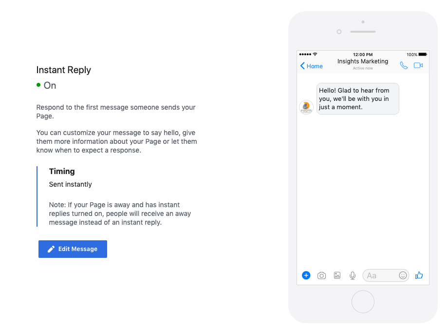 Facebook Instant Reply feature settings